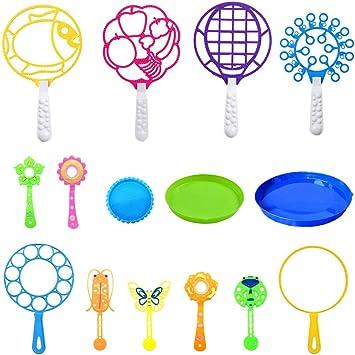 Pomperos para Niños Pack, Color Aleatorio Grande Pequeña Burbuja para Niños Juguete Varita Diversión Burbuja 12 Piezas, con 3 Bandejas para Hacer Burbujas(No Incluye Agua de Burbujas): Amazon.es: Juguetes y juegos