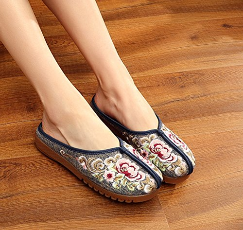 Sole Womens Rubber Casual Flower Flats Avacostume Grey Slipper Embroidery Shoes xIwFPpxfqW