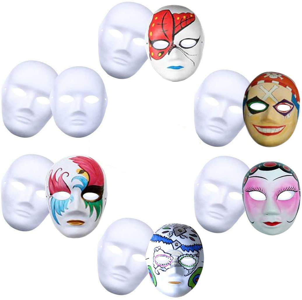 White Mask,Outgeek 12Pcs Halloween Full Face Mask White DIY Mask Dance Cosplay Party Plain Masquerade Mask Paper Mask To Decorate