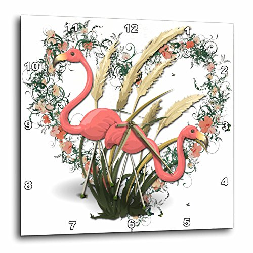 (3dRose Pink Flamingos and Beautiful Heart Wreath with Flowers-Wall Clock, 13-inch (DPP_214634_2))
