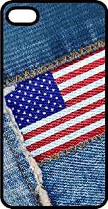 American Flag Sewn On Blue Jeans Black Plastic Case for Apple iPhone 4 or iPhone 4s Kimberly Kurzendoerfer