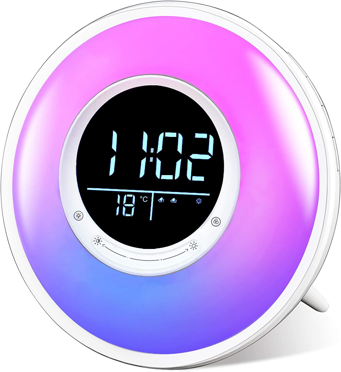 Sunrise Wake Up Light Alarm Clock, FiveHome White Noise Sound Machine with FM Radio, 11 Colors Night Light, 18 Natural Sounds, Sleep Timer, Dual Alarm, Snooze, Temperature Display