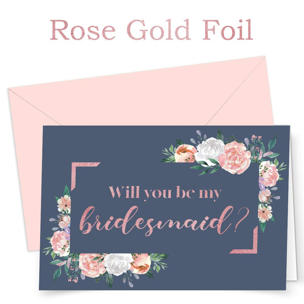 Bridesmaid Proposal Cards | SET OF 12 | Floral Will You Be My Bridesmaid Cards | ROSE GOLD FOIL | Maid of Honor | Matron of Honor | Flower Girl | Envelopes and Stickers | BOX SET OF 12 |