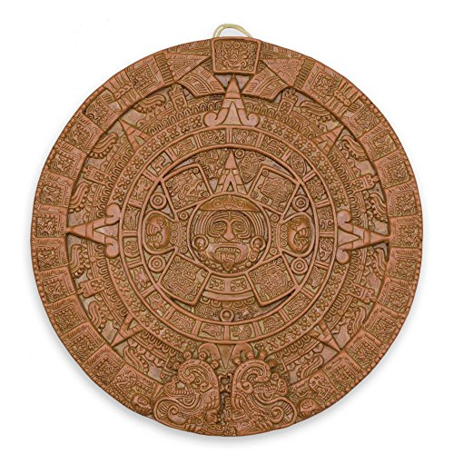 NOVICA Beige Archaeological Advent Calendar Ceramic Plaque, 'Aztec Sun Stone In Terracotta' (Terra Sun Plaque Cotta)