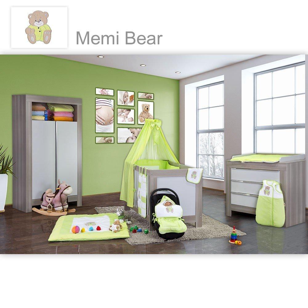 Babyzimmer Felix in akaziengrau 19 tlg. mit 2 türigem Kl. + Memi Bear Grün
