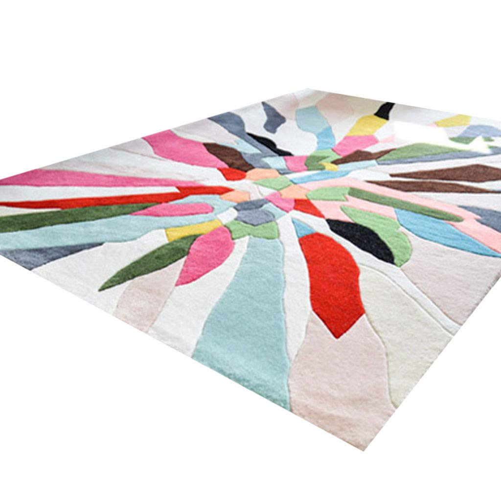 Teppiche JXLBB Acryl Moderne minimalistische handgeschnittene Blume Acrylverdickung weich Waschtisch mit hoher Dichte Wohnzimmer Schlafzimmer Bedside Restaurant Regenbogen bunt (größe   1.4x2m)