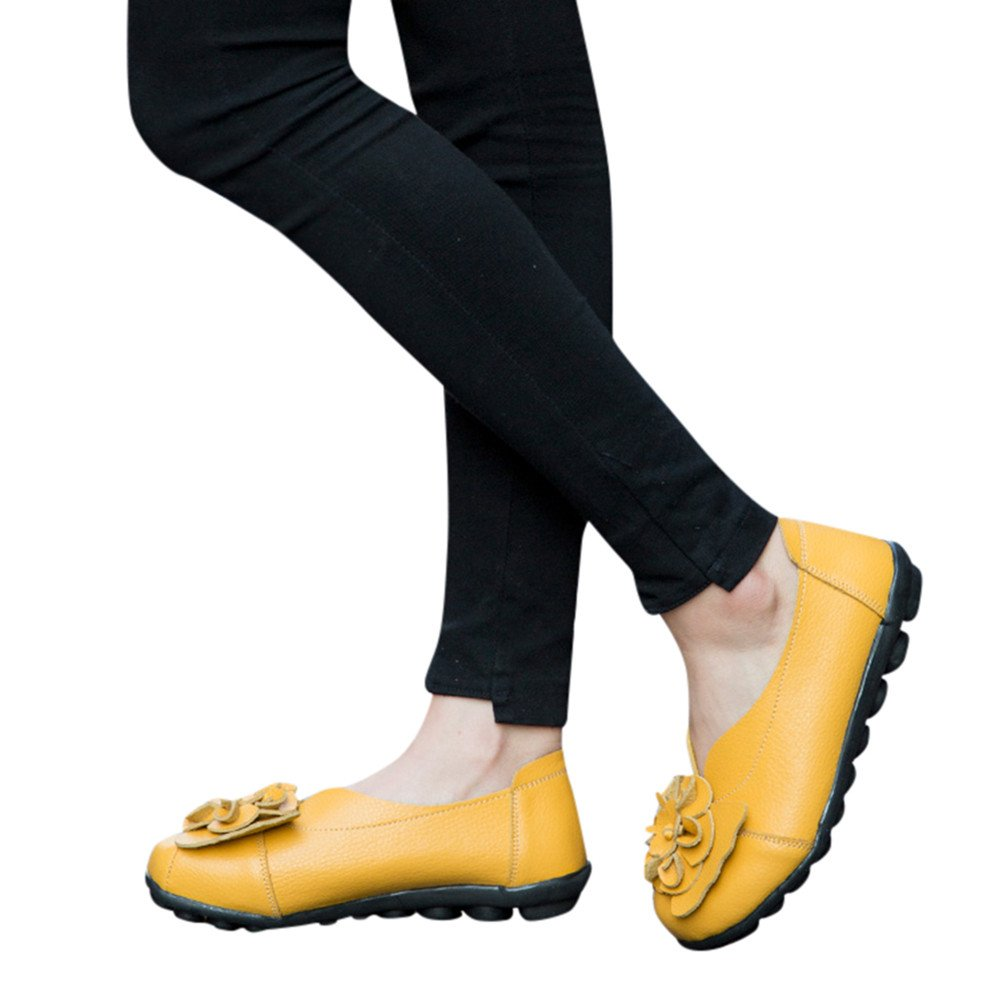 Ballerines en Cuir /à Fleurs Chaussures de Ville Hiver Automne /à Talons Plats Semelles Epaisse Confortable pour Pieds Larges Sandales Confortable Mocassins Femme