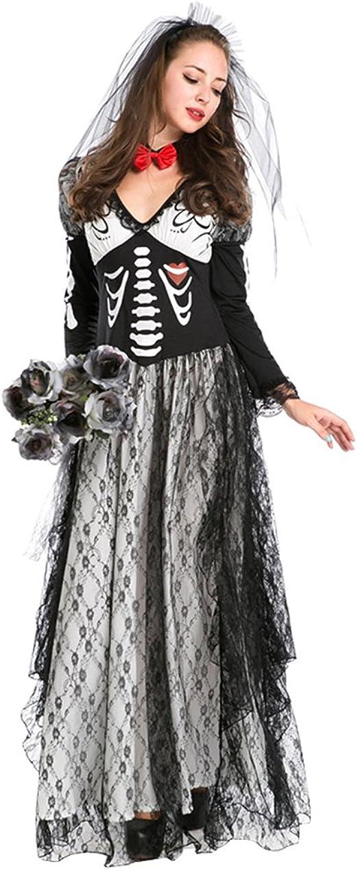 Anguang Disfraz De Novia Cadaver para Mujer Cosplay Novia Zombie ...