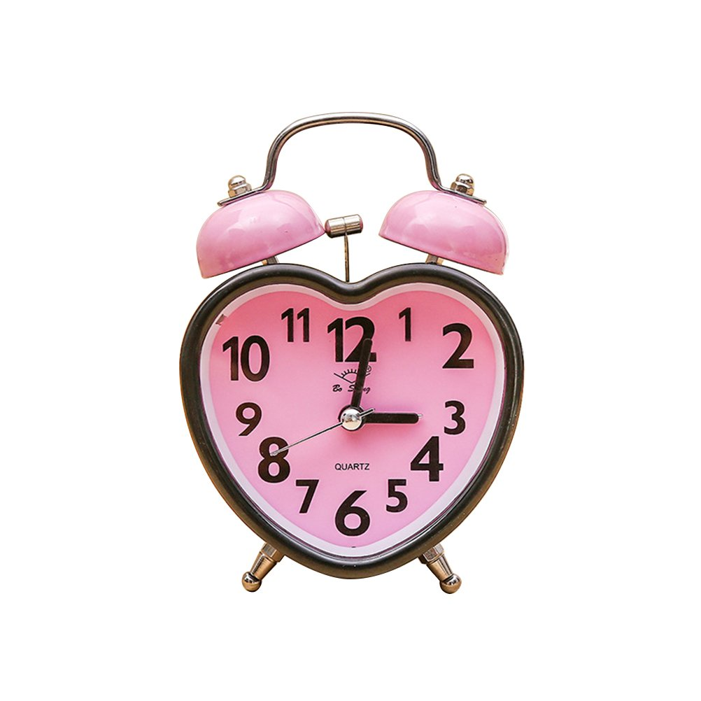 Vorcool Heart Double Bell Alarm Clock, No Ticking Twin Bell Alarm Clock with Night Light for Girls Bedroom (Pink)