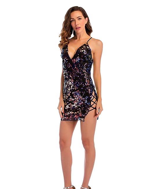 LINNUO Mujer Vestidos de Fiesta Coctel Noche Club División Lace Up Cuello V Sin Respaldo Verano Dia Vestido Lentejuelas: Amazon.es: Ropa y accesorios