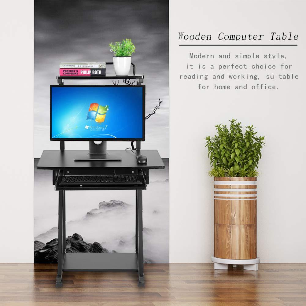Zerone Scrivania per Computer Compatta Mobile Portatile Tavolo Scrivania Computer Mobile Ruote Casalinghi Doppio Strato Stazione Lavoro Basamento