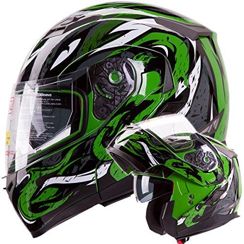 VIPER Modular Dual Visor Motorcycle / Snowmobile Helmet DOT Approved (IV2 Model #953) - Green (S) ()
