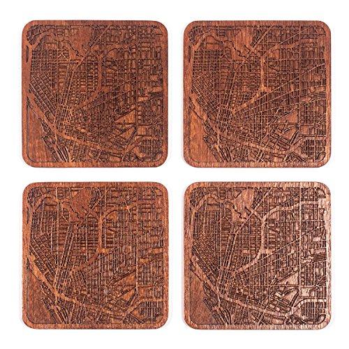 Buffalo, NY Map Coaster by O3 Design Studio, Set of
