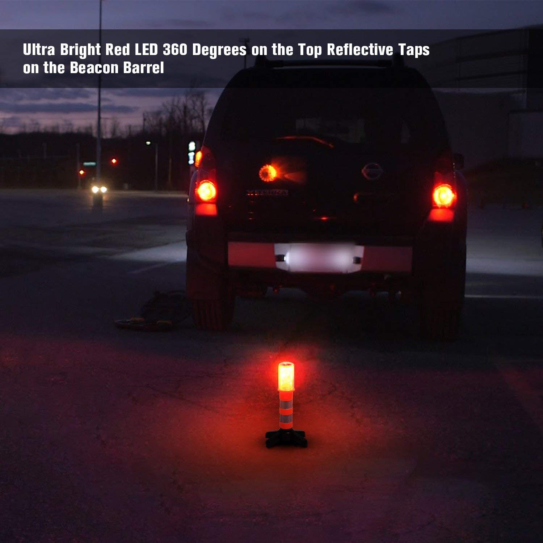 2 Pack Car LED Emergency Roadside Flashing Strobe Light Road Flares Warning Sticks Signal Alarm Magnetic Base LED Warning Lights