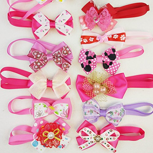 Hixixi 10pcs/pack Dog Cat Puppy Bow Ties Bowties Collar for Festival Pet Ties Dog Grooming Accessories (For ()