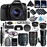 Canon EOS 80D DSLR Camera with 18-55mm Lens International version (No Warranty) + Tamron 200-500mm SP AF Di LD (IF) Lens for Canon EOS + Battery Grip + LP-E6N Replacement Lithium Ion Battery Bundle