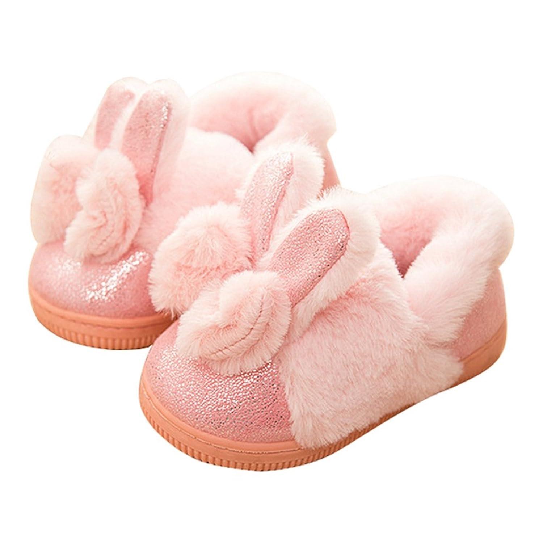 Boys Girls Cozy Winter Fur Home Slippers Anti Slip Cartoon Ears Velvet Kids Indoors Clog House Slippers