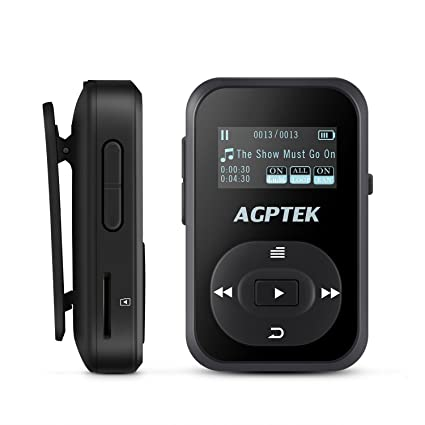 Bluetooth 8GB MP3 Player with Clip, AGPTEK A26 Hi-Fi Sound Music Player  with FM Radio and Sweatproof Silicone Case, Support up to 64GB, Black