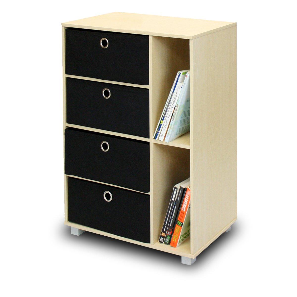 Furinno 11159SBE/BK Multipurpose Storage Cabinet w/4 Bin Drawers, Steam Beech/Black