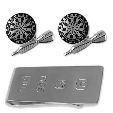 507a5567b018 Image Unavailable. Image not available for. Color: Sterling silver black  enamel dart & dartboard cufflinks ...