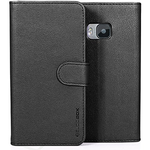 HTC One M9 Case, BUDDIBOX [Wallet Case] Premium PU Leather Wallet Case with [Kickstand] Card Holder and ID Slot for HTC One M9, (Black)