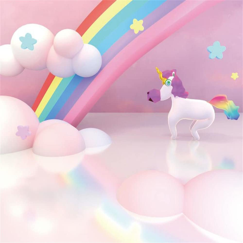 Amazon Com Lfeey 6x6ft Cartoon Baby Unicorn Backdrop Pink Sweet Newborn Photo Booth Wallpaper Clouds Rainbow Kids Birthday Party Baby Shower Photography Background Photo Studio Props Camera Photo