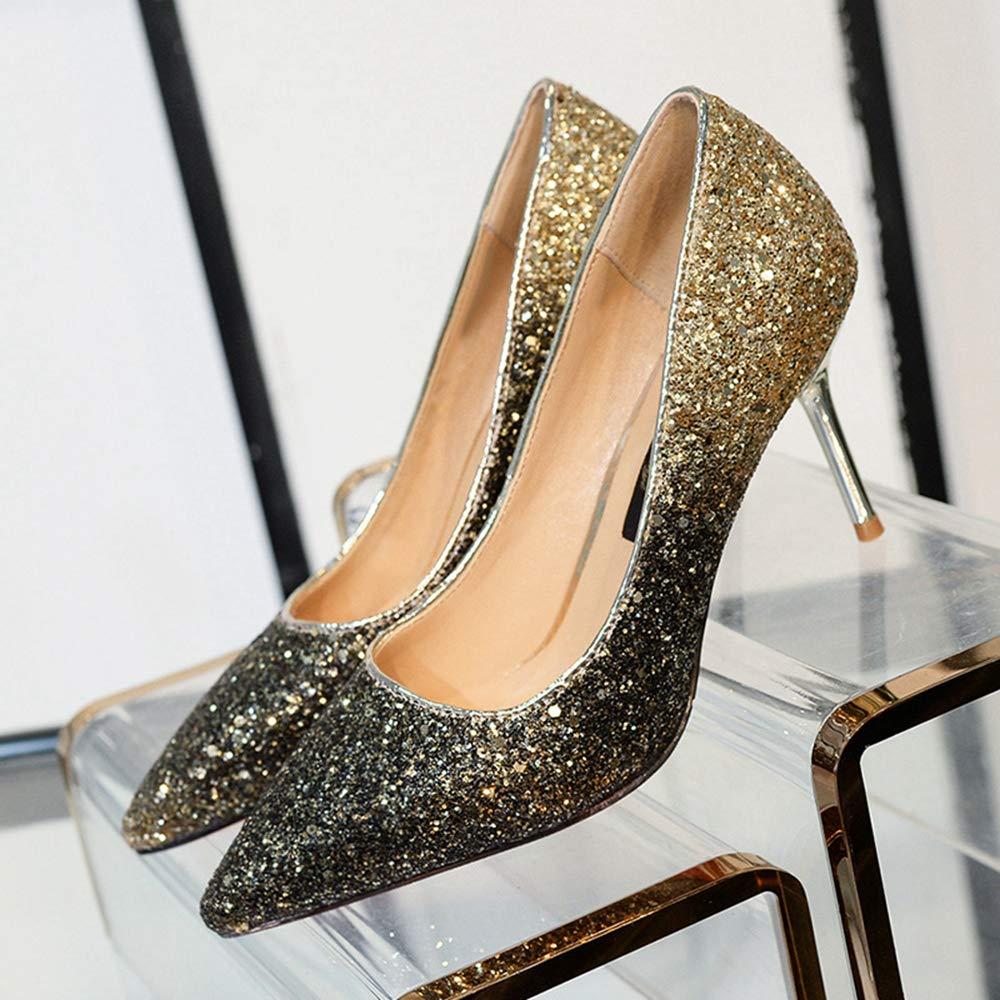 Jqdyl Frauen Schuhe Spitz Flach Mund Pailletten High Heels Heels Heels Einzelne Schuhe b0a03a