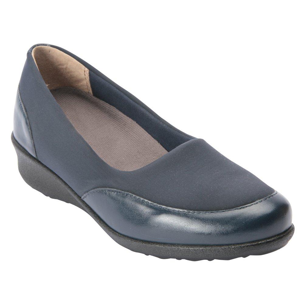 Drew Shoe Women's London II Slip On Textile Casual Flats B01KGF4LGM 5.5 Wide (D) Navy/Combo Slip-On US Woman|Navy Combo