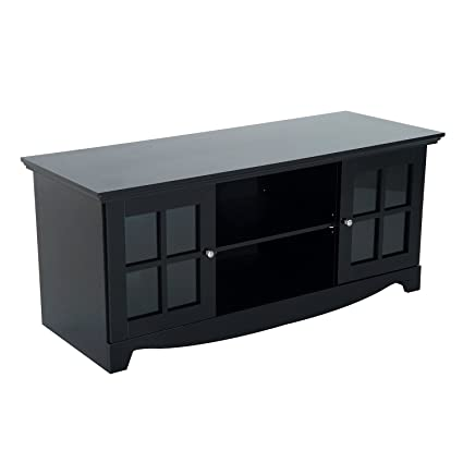 HomCom 56u0026quot; TV Stand Entertainment Center Storage Console Cabinet    Black