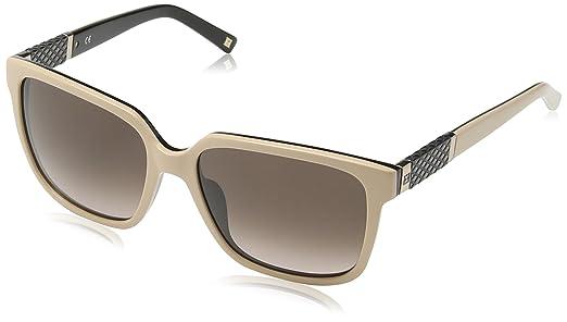Escada Damen Schmetterling Sonnenbrille, Gr. One Size, Black & Beige Frame/Brown/Pink Gradient Lens