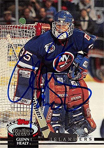 - Glenn Healy autographed Hockey Card (New York Islanders, SC) 1991 Topps Stadium Club #356