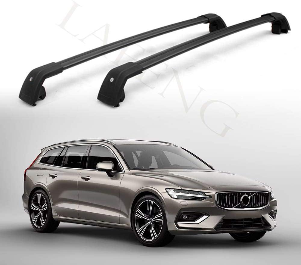 Lafeng Schwarze Querstange Passt Für Volvo V60 2019 2020 Gepäckträger Starke Dachträger Auto