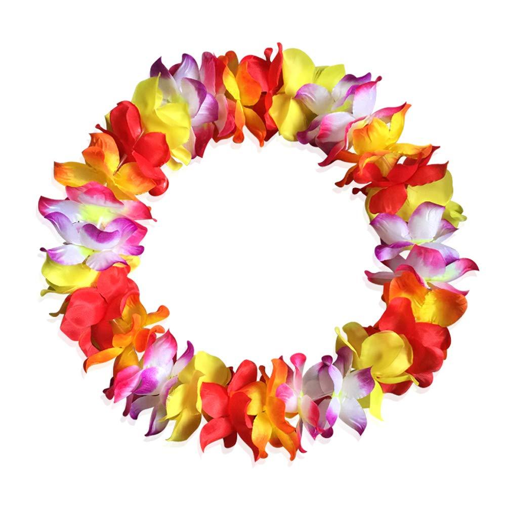 Hawaiian Leis Luau Tropical Headband Flower Crown Wreath Headpiece Wristbands Women Girls Floral Necklace Bracelets Hair Band For Summer Beach Vacation Pool Party Decorations Favors Supplies Blue