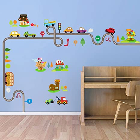 Wall sticker adesivo BAMBINI parete muro cameretta PISTA AUTO ...