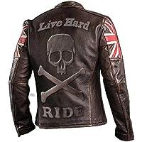 e-clothing UK Bandera Cráneo Chaqueta de Cuero Genuino Marron Oscuro