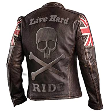 c199edf70 UK Flag Vintage Biker Style Motorcycle Genuine Leather Motorbike ...