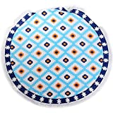 ANswet 900 Grams Superior Manual Beaded Tassel 100% Cotton 59 inches Round Beach Towel Throw Tapestry Gypsy Tablecloth Yoga Mat cut velvet Super Soft(Blue Poker)