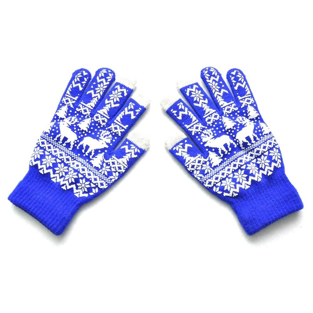 Winter Gloves For Men,Gym Gloves Men,Gloves Toddler Girl,Christmas Gloves Bulk,Men Women Christmas Winter Warm Knitted Cute Gloves,Blue,M