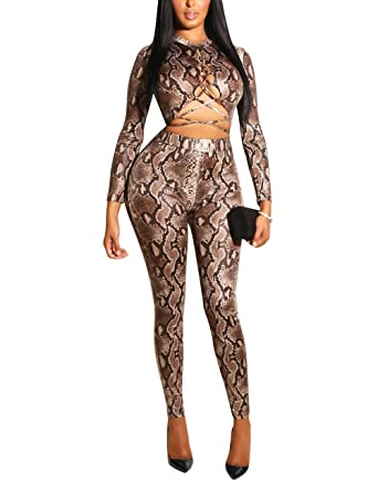 cc4657ac78d Amazon.com  Augsuttc Women Sexy Snakeskin Print Bandage Lace Up Long Sleeve  Bodycon Jumpsuit Catsuit  Clothing