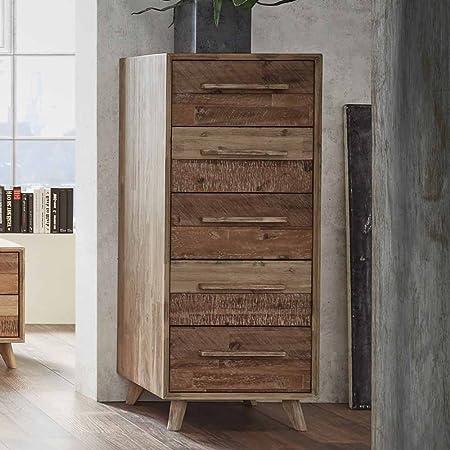 Pharao24 - Cajonera (madera de acacia maciza, 120 cm): Amazon.es: Hogar