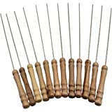 YYGIFT 12 Set of Stainless Steel Barbecue Skewers with Wood Handle Marshmallow Roasting Sticks Meat Hot Dog Fork Best for BBQ Camping Cookware Campfire Grill Cooking