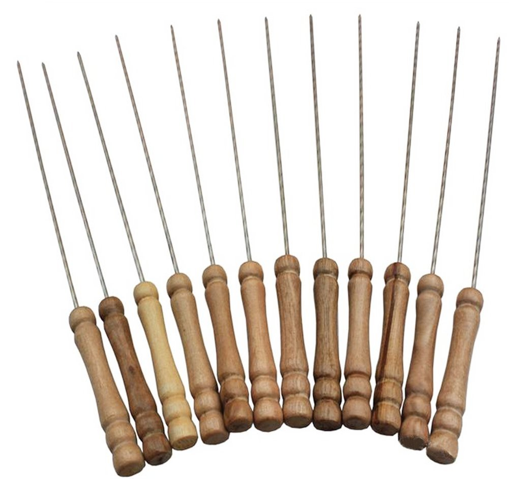 YYGIFT 12 Set of Stainless Steel Barbecue Skewers with Wood Handle Marshmallow Roasting Sticks Meat Hot Dog Fork Best for BBQ Camping Cookware Campfire Grill Cooking YY.GIFT