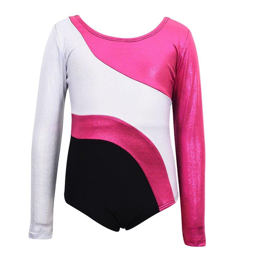 Girls Long Sleeved Gymnastics Leotard, Qlan Rainbow Stripes Metallic Dance Training Gymnastics Dancewear