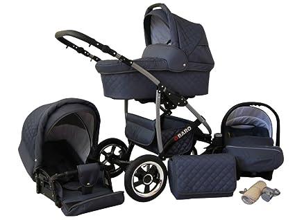 Lux4Kids Q Baro 3 in 1 Cochecito Combinado (asiento del coche incluye adaptadores, cubierta para la lluvia, mosquitero, ruedas giratorias 9 colores) ...