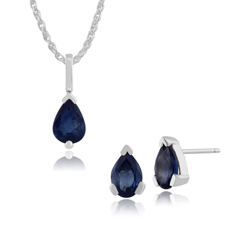 Gemondo 9ct White Gold Blue Kanchanaburi Sapphire Pear Stud Earring /& 45cm Necklace Set