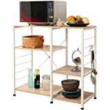 Soges Multi-layers Kitchen Baker's Rack Utility Microwave Oven Stand Storage Cart Workstation Shelf, White Oak 171-MO