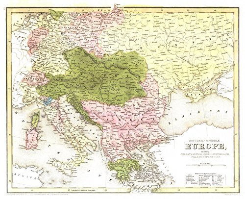 Historic Map | 1841 Southern and Middle Europe | Bradford, T.G. and S.G. ()