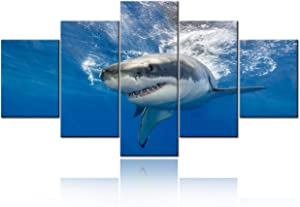 "5 Piece Blue Wall Art Painting Great White Shark Catching Fish At Guadalupe Island Pictures Prints On Canvas Animal The Picture Decor Oil For Home Modern Decoration For Living Room - 60""W x 32""H"