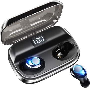 高音質 125時間連続駆動済/ / Android対応 自動ペアリング Hi-Fi 電池残量インジケーター付き / Siri対応 iPhone ワイヤレスイヤホン 【2019最新版 LEDディスプレイ Bluetooth イヤホン 】 5.0+EDR搭載 イヤホン 最新bluetooth IPX7防水規格 完全ワイヤレスイヤホン AAC対応 &