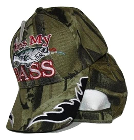 Redneck Hillbilly Kiss My Bass Camo Camoflauge fish fishing hat cap ... ea59caade12